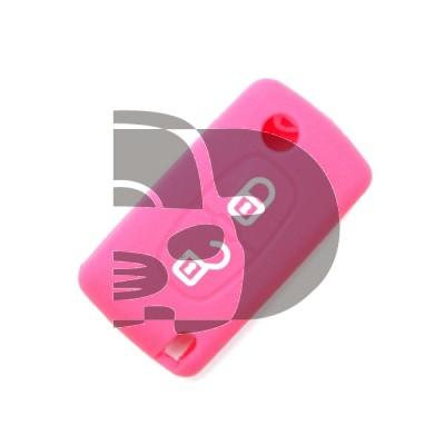 HOUSSE TELECOMMANDE CITROËN/PEUGEOT ROSE 2 BOUTONS